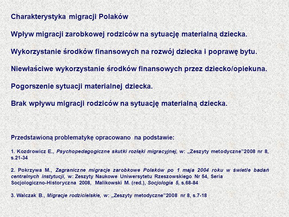 Charakterystyka migracji Polaków Wpływ migracji zarobkowej rodziców na sytuację materialną dziecka. Wykorzystanie środków finansowych na rozwój dzieck