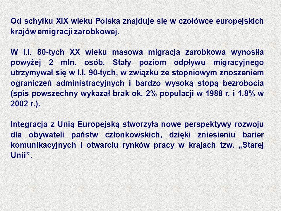 Od schyłku XIX wieku Polska znajduje się w czołówce europejskich krajów emigracji zarobkowej. W l.l. 80-tych XX wieku masowa migracja zarobkowa wynosi