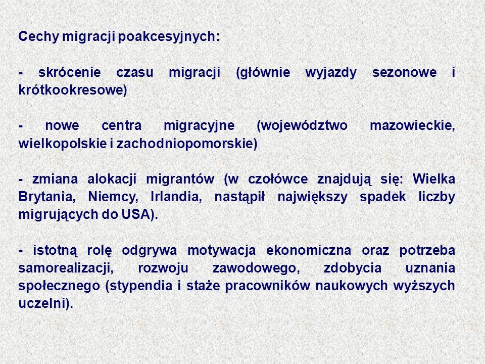 Cechy migracji poakcesyjnych: - skrócenie czasu migracji (głównie wyjazdy sezonowe i krótkookresowe) - nowe centra migracyjne (województwo mazowieckie