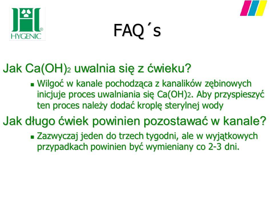 FAQ´s Jak Ca(OH) 2 uwalnia się z ćwieku? n Wilgoć w kanale pochodząca z kanalików zębinowych inicjuje proces uwalniania się Ca(OH) 2. Aby przyspieszyć