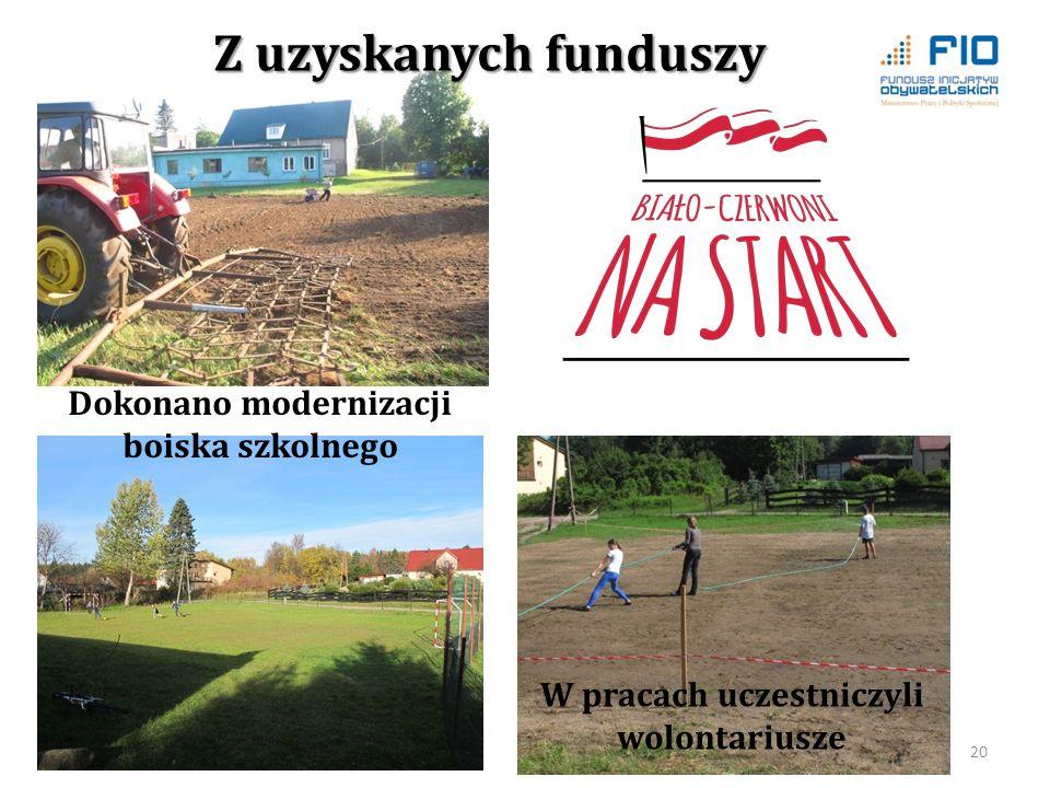 W pracach uczestniczyli wolontariusze 20 Dokonano modernizacji boiska szkolnego Z uzyskanych funduszy