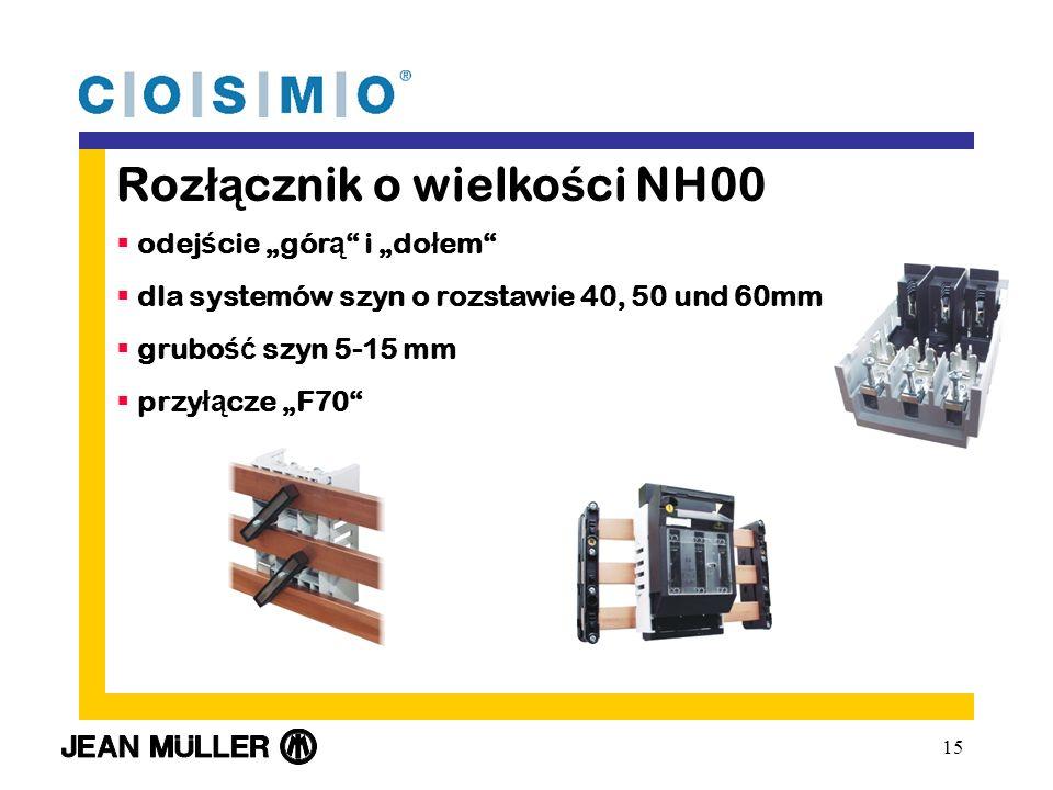 15 Roz łą cznik o wielko ś ci NH00 odej ś cie gór ą i do ł em dla systemów szyn o rozstawie 40, 50 und 60mm grubo ść szyn 5-15 mm przy łą cze F70