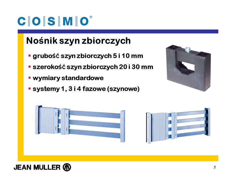 5 No ś nik szyn zbiorczych grubo ść szyn zbiorczych 5 i 10 mm szeroko ść szyn zbiorczych 20 i 30 mm wymiary standardowe systemy 1, 3 i 4 fazowe (szynowe)
