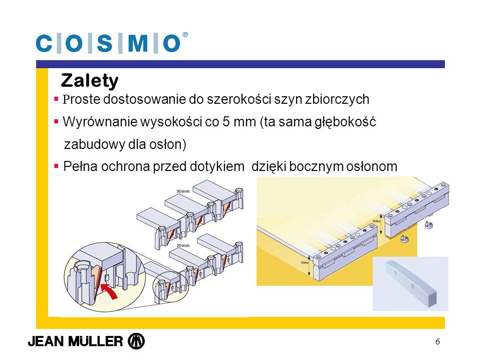 6 Zalety P roste dostosowanie do szerokości szyn zbiorczych Wyrównanie wysokości co 5 mm (ta sama głębokość zabudowy dla osłon) Pełna ochrona przed dotykiem dzięki bocznym osłonom
