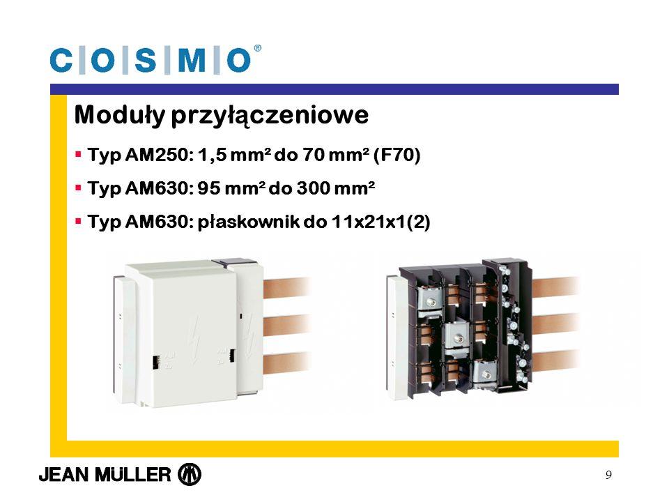 9 Modu ł y przy łą czeniowe Typ AM250: 1,5 mm² do 70 mm² (F70) Typ AM630: 95 mm² do 300 mm² Typ AM630: p ł askownik do 11x21x1(2)