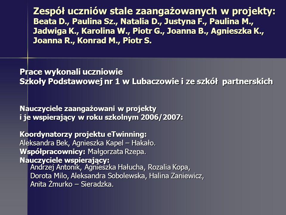 Zespół uczniów stale zaangażowanych w projekty: Beata D., Paulina Sz., Natalia D., Justyna F., Paulina M., Jadwiga K., Karolina W., Piotr G., Joanna B