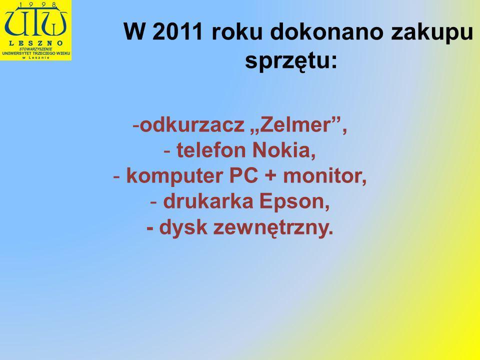 W 2011 roku dokonano zakupu sprzętu: -odkurzacz Zelmer, - telefon Nokia, - komputer PC + monitor, - drukarka Epson, - dysk zewnętrzny.