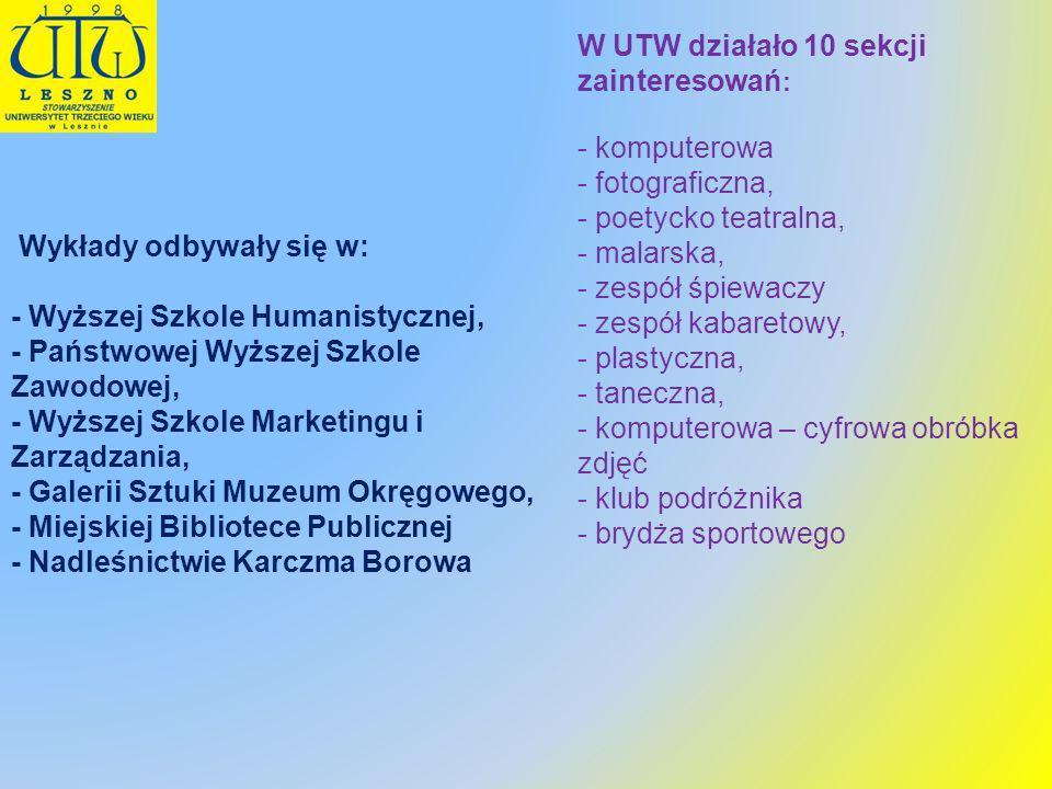 W UTW działało 10 sekcji zainteresowań : - komputerowa - fotograficzna, - poetycko teatralna, - malarska, - zespół śpiewaczy - zespół kabaretowy, - pl