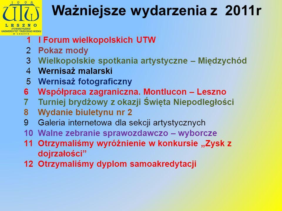 1 I Forum wielkopolskich UTW 2 Pokaz mody 3 Wielkopolskie spotkania artystyczne – Międzychód 4 Wernisaż malarski 5 Wernisaż fotograficzny 6Współpraca