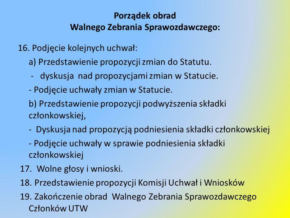 Porządek obrad Walnego Zebrania Sprawozdawczego: 16. Podjęcie kolejnych uchwał: a) Przedstawienie propozycji zmian do Statutu. - dyskusja nad propozyc