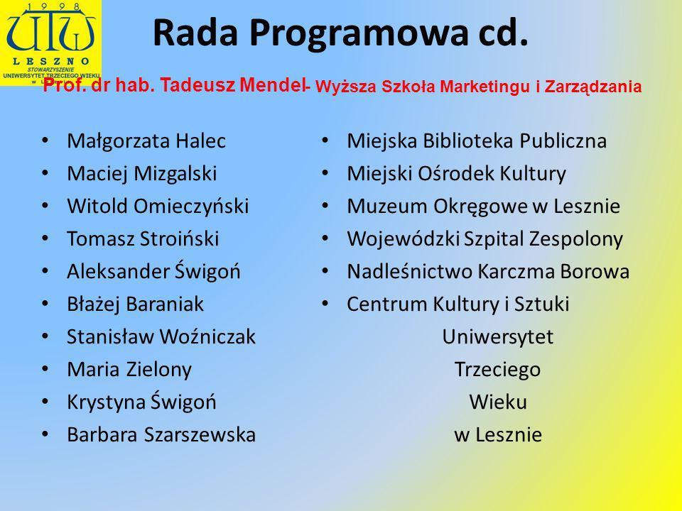 Przewodniczący: Członkowie: Rada Programowa cd. Prof. dr hab. Tadeusz Mendel Małgorzata Halec Maciej Mizgalski Witold Omieczyński Tomasz Stroiński Ale
