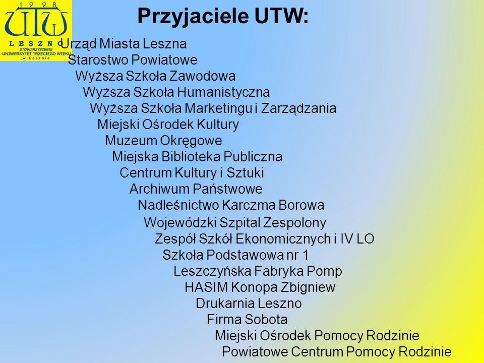 Przyjaciele UTW: Urząd Miasta Leszna Starostwo Powiatowe Wyższa Szkoła Zawodowa Wyższa Szkoła Humanistyczna Wyższa Szkoła Marketingu i Zarządzania Mie