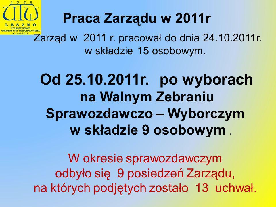 Praca Zarządu w 2011r Zarząd w 2011 r. pracował do dnia 24.10.2011r. w składzie 15 osobowym. Od 25.10.2011r. po wyborach na Walnym Zebraniu Sprawozdaw