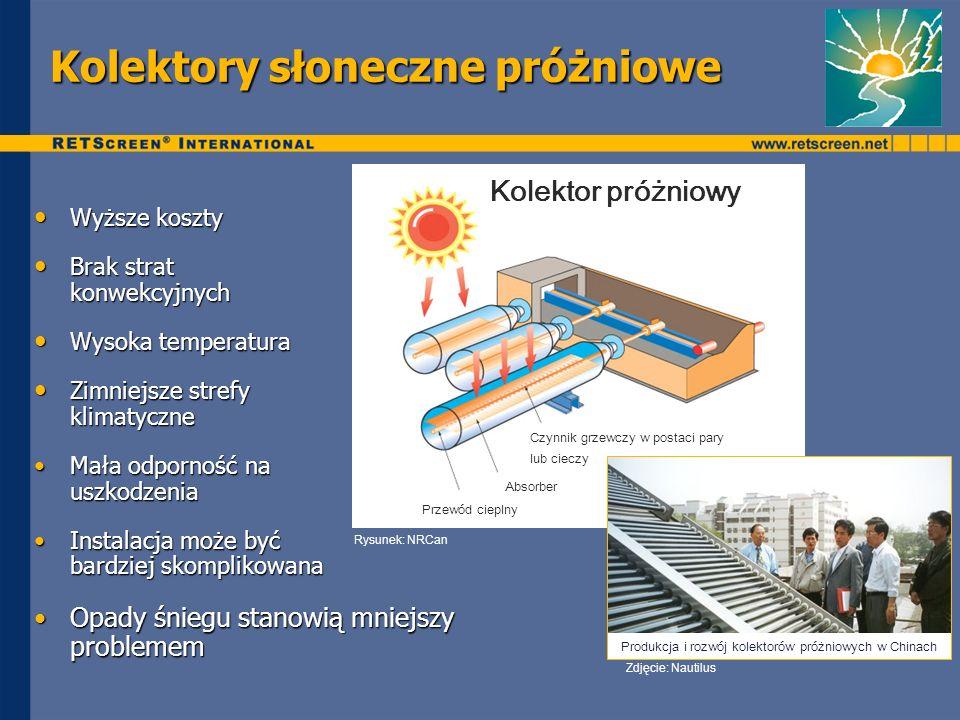 Kolektory słoneczne próżniowe Wyższe koszty Wyższe koszty Brak strat konwekcyjnych Brak strat konwekcyjnych Wysoka temperatura Wysoka temperatura Zimn