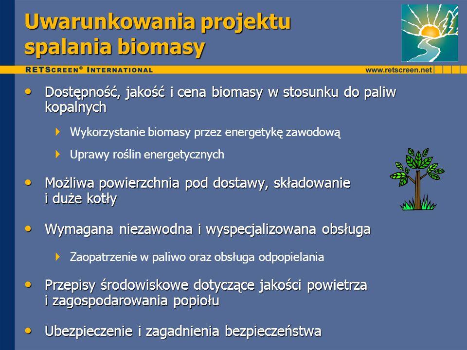 Uwarunkowania projektu spalania biomasy Dostępność, jakość i cena biomasy w stosunku do paliw kopalnych Dostępność, jakość i cena biomasy w stosunku d