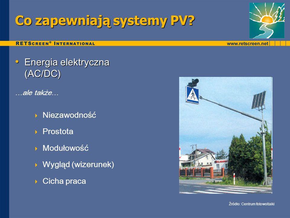 Co zapewniają systemy PV? Energia elektryczna (AC/DC) Energia elektryczna (AC/DC) …ale także… Niezawodność Prostota Modułowość Wygląd (wizerunek) Cich