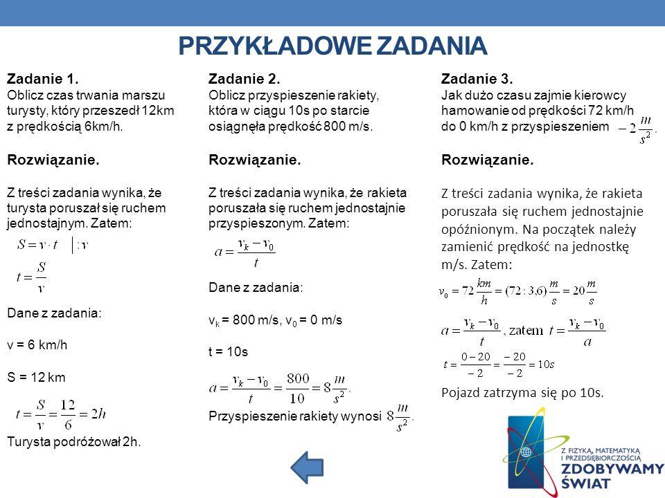 PRZYKŁADOWE ZADANIA Zadanie 2.