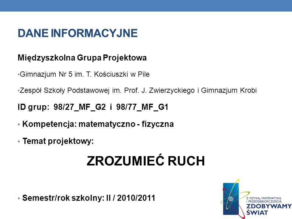 DANE INFORMACYJNE Międzyszkolna Grupa Projektowa Gimnazjum Nr 5 im.
