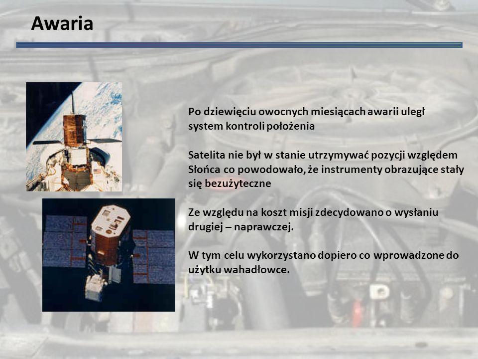 Awaria Po dziewięciu owocnych miesiącach awarii uległ system kontroli położenia Satelita nie był w stanie utrzymywać pozycji względem Słońca co powodowało, że instrumenty obrazujące stały się bezużyteczne Ze względu na koszt misji zdecydowano o wysłaniu drugiej – naprawczej.