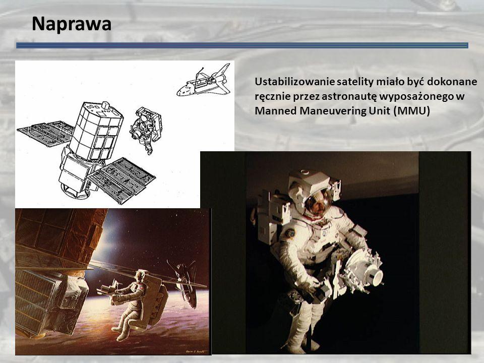 Naprawa Ustabilizowanie satelity miało być dokonane ręcznie przez astronautę wyposażonego w Manned Maneuvering Unit (MMU)