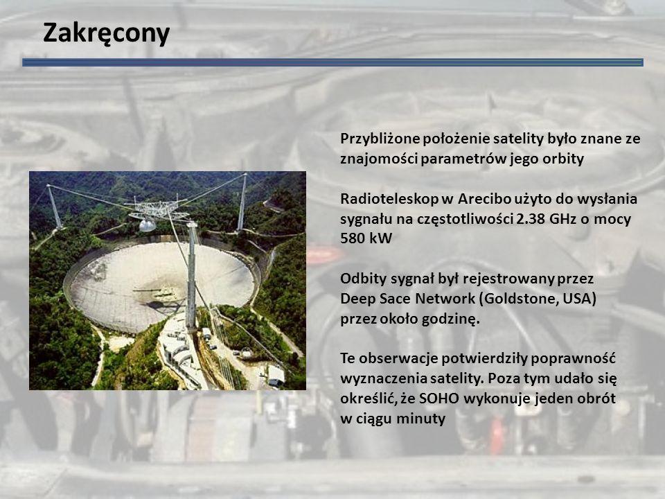 Zakręcony Przybliżone położenie satelity było znane ze znajomości parametrów jego orbity Radioteleskop w Arecibo użyto do wysłania sygnału na częstotliwości 2.38 GHz o mocy 580 kW Odbity sygnał był rejestrowany przez Deep Sace Network (Goldstone, USA) przez około godzinę.