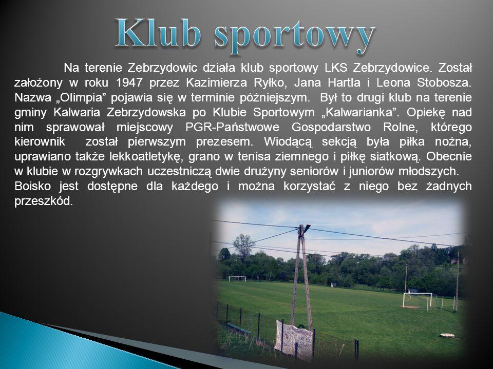 Na terenie Zebrzydowic działa klub sportowy LKS Zebrzydowice. Został założony w roku 1947 przez Kazimierza Ryłko, Jana Hartla i Leona Stobosza. Nazwa