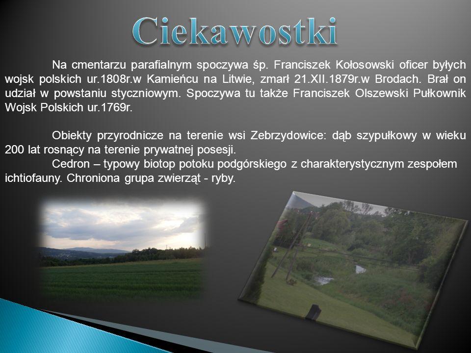 Na cmentarzu parafialnym spoczywa śp. Franciszek Kołosowski oficer byłych wojsk polskich ur.1808r.w Kamieńcu na Litwie, zmarł 21.XII.1879r.w Brodach.