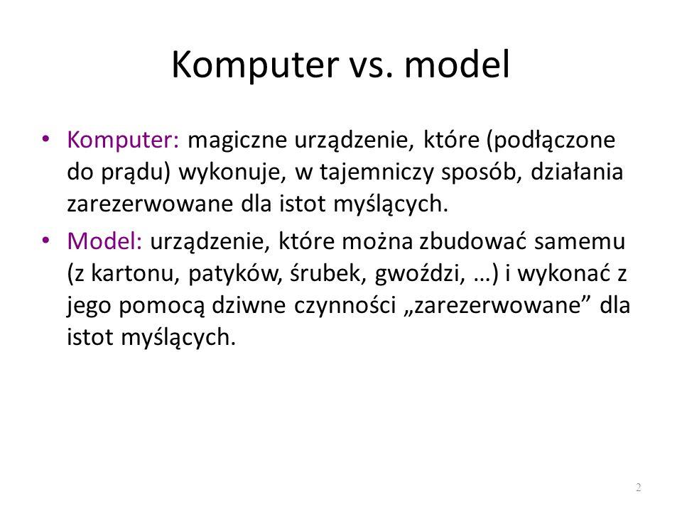 Komputer vs. model Komputer: magiczne urządzenie, które (podłączone do prądu) wykonuje, w tajemniczy sposób, działania zarezerwowane dla istot myślący