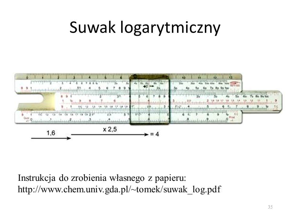 Suwak logarytmiczny 35 Instrukcja do zrobienia własnego z papieru: http://www.chem.univ.gda.pl/~tomek/suwak_log.pdf