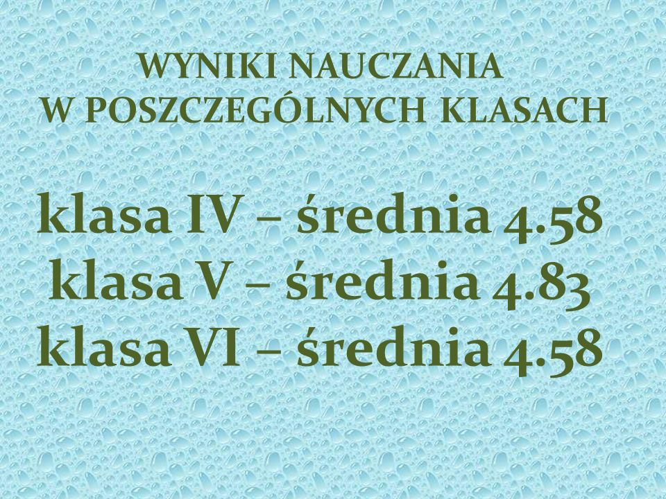 Frekwencja klasa I – 91.81 % klasa II – 92,40% 100% Angelika Mynarska, Dominik Stanclik klasa III – 92,04% 100% Emilia Drzewucka, Jakub Stolarzewicz