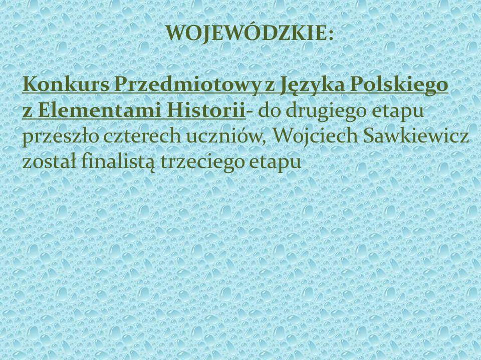 WOJEWÓDZKIE: Konkurs Przedmiotowy z Języka Polskiego z Elementami Historii- do drugiego etapu przeszło czterech uczniów, Wojciech Sawkiewicz został finalistą trzeciego etapu