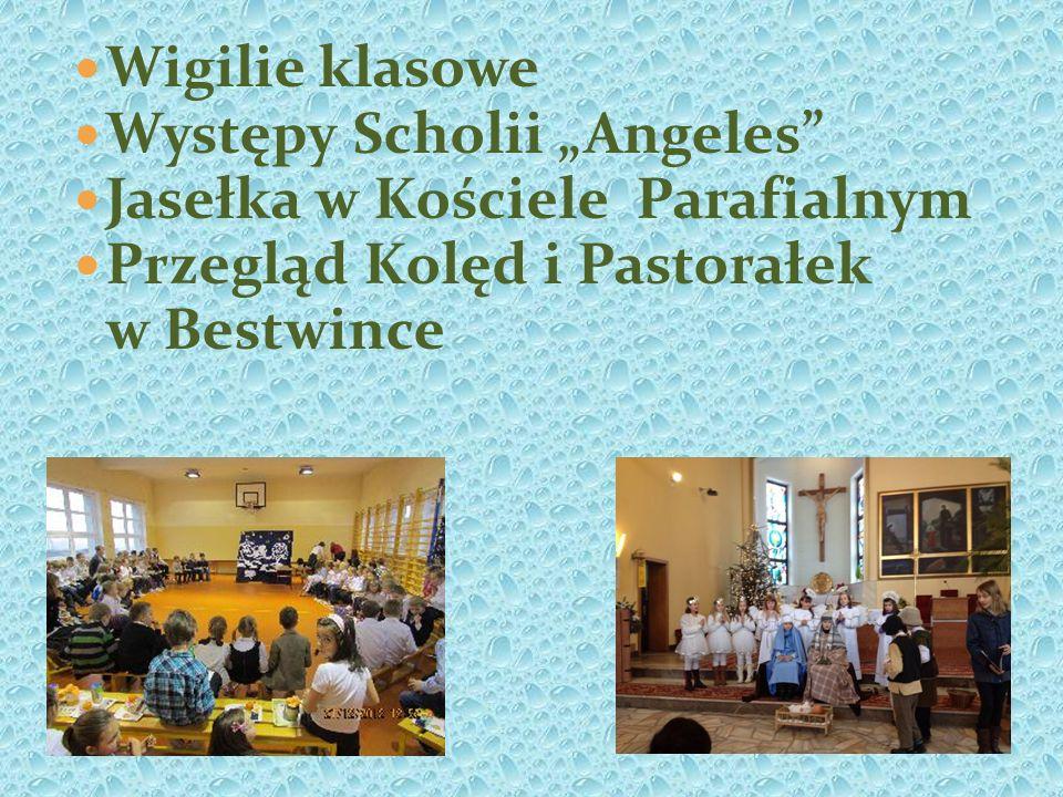 Wigilie klasowe Występy Scholii Angeles Jasełka w Kościele Parafialnym Przegląd Kolęd i Pastorałek w Bestwince