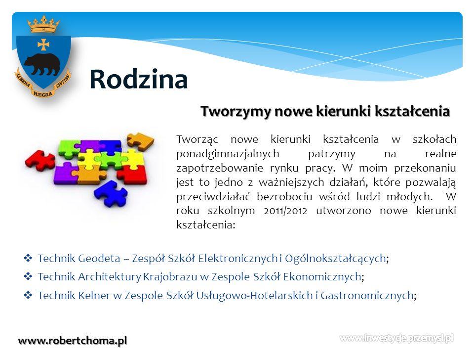 Rodzina www.robertchoma.pl Tworzymy nowe kierunki kształcenia Tworząc nowe kierunki kształcenia w szkołach ponadgimnazjalnych patrzymy na realne zapot