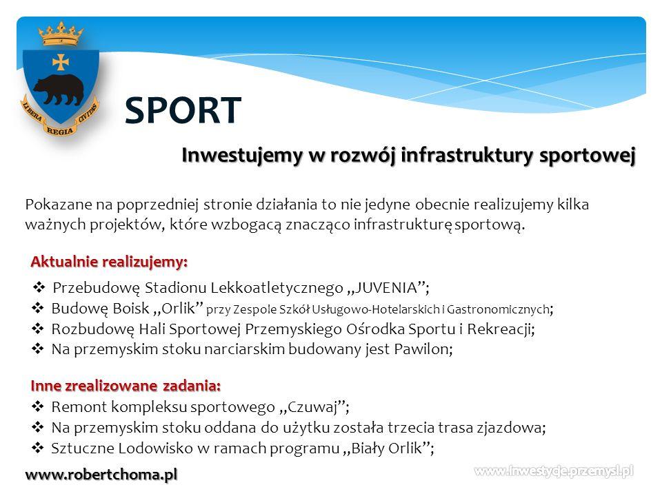 SPORT www.robertchoma.pl Inwestujemy w rozwój infrastruktury sportowej Pokazane na poprzedniej stronie działania to nie jedyne obecnie realizujemy kil