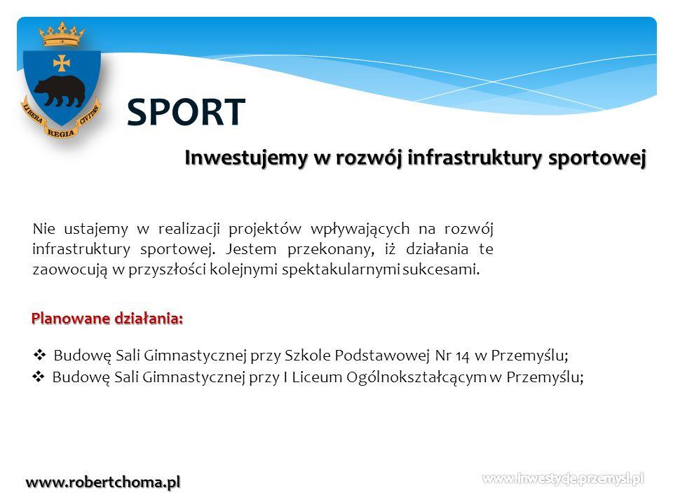 SPORT www.robertchoma.pl Inwestujemy w rozwój infrastruktury sportowej Nie ustajemy w realizacji projektów wpływających na rozwój infrastruktury sport