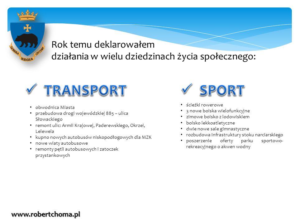 Rok temu deklarowałem działania w wielu dziedzinach życia społecznego: www.robertchoma.pl ścieżki rowerowe 3 nowe boiska wielofunkcyjne zimowe boisko