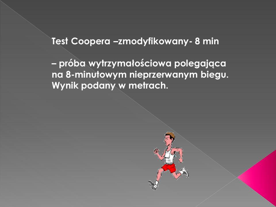 Test Coopera –zmodyfikowany- 8 min – próba wytrzymałościowa polegająca na 8-minutowym nieprzerwanym biegu.
