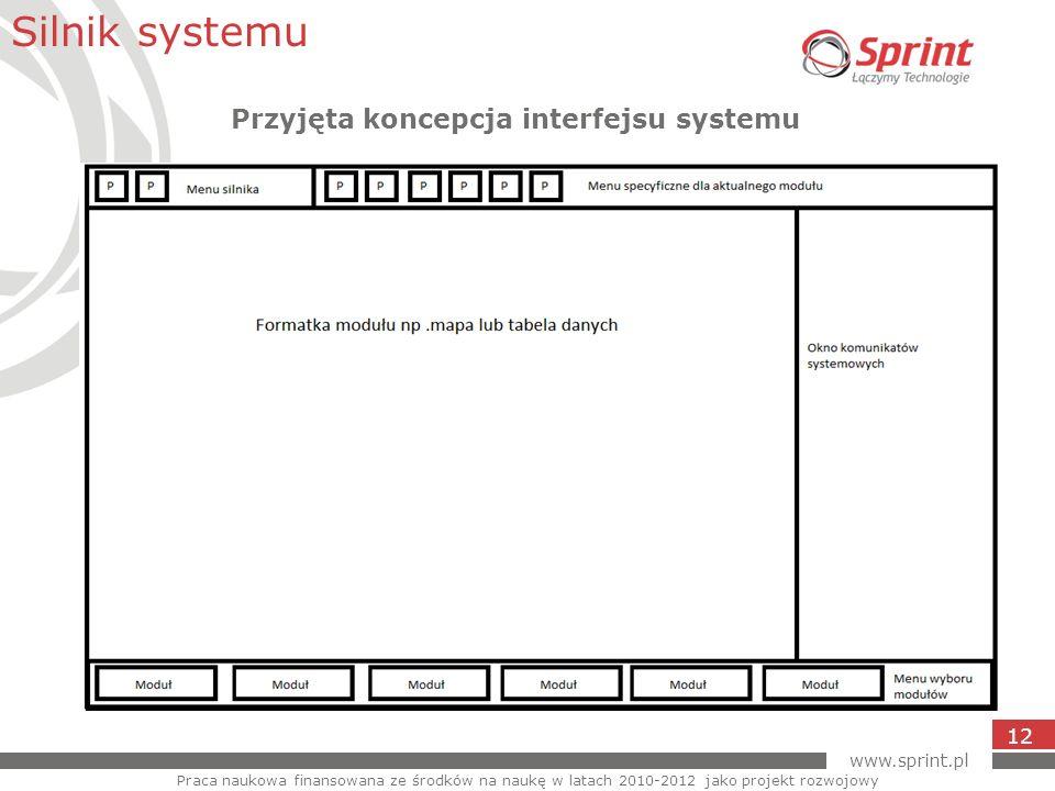 www.sprint.pl 12 Silnik systemu Praca naukowa finansowana ze środków na naukę w latach 2010-2012 jako projekt rozwojowy Przyjęta koncepcja interfejsu