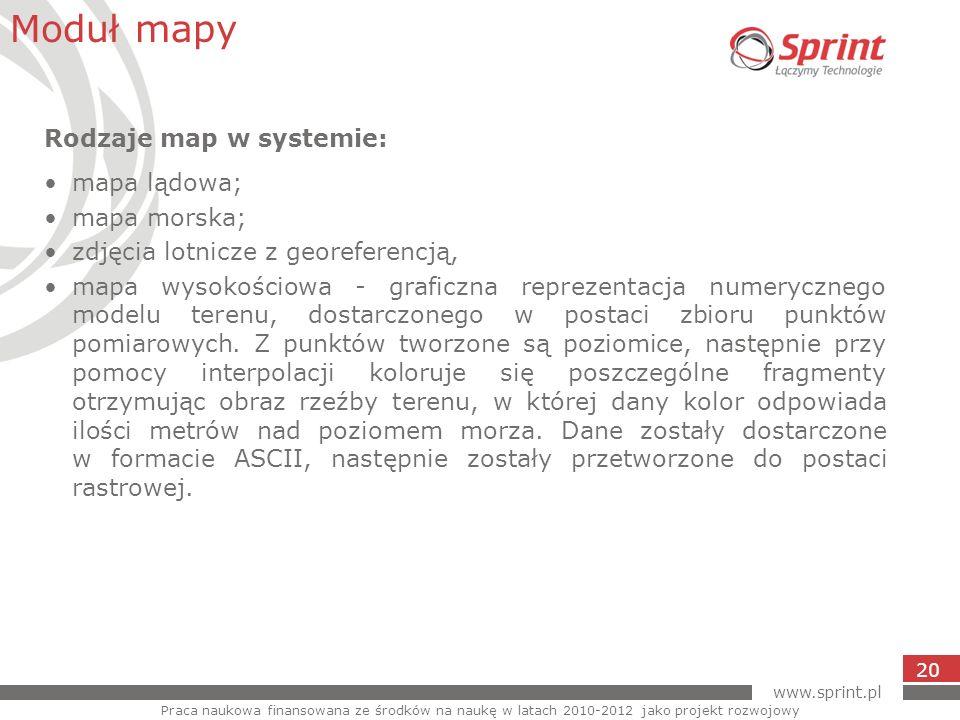 www.sprint.pl 20 Moduł mapy Praca naukowa finansowana ze środków na naukę w latach 2010-2012 jako projekt rozwojowy Rodzaje map w systemie: mapa lądow