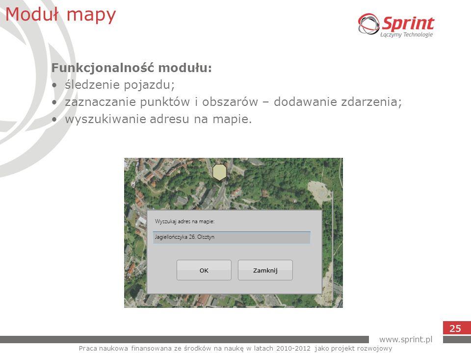 www.sprint.pl 25 Moduł mapy Praca naukowa finansowana ze środków na naukę w latach 2010-2012 jako projekt rozwojowy Funkcjonalność modułu: śledzenie p