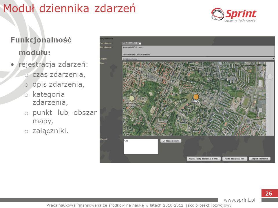www.sprint.pl 26 Moduł dziennika zdarzeń Praca naukowa finansowana ze środków na naukę w latach 2010-2012 jako projekt rozwojowy Funkcjonalność modułu