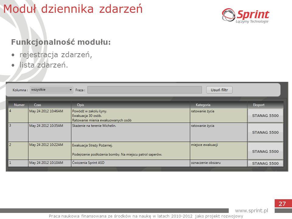 www.sprint.pl 27 Moduł dziennika zdarzeń Praca naukowa finansowana ze środków na naukę w latach 2010-2012 jako projekt rozwojowy Funkcjonalność modułu