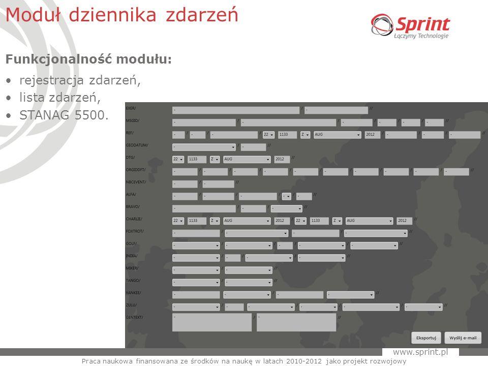 www.sprint.pl 29 Moduł dziennika zdarzeń Praca naukowa finansowana ze środków na naukę w latach 2010-2012 jako projekt rozwojowy Funkcjonalność modułu