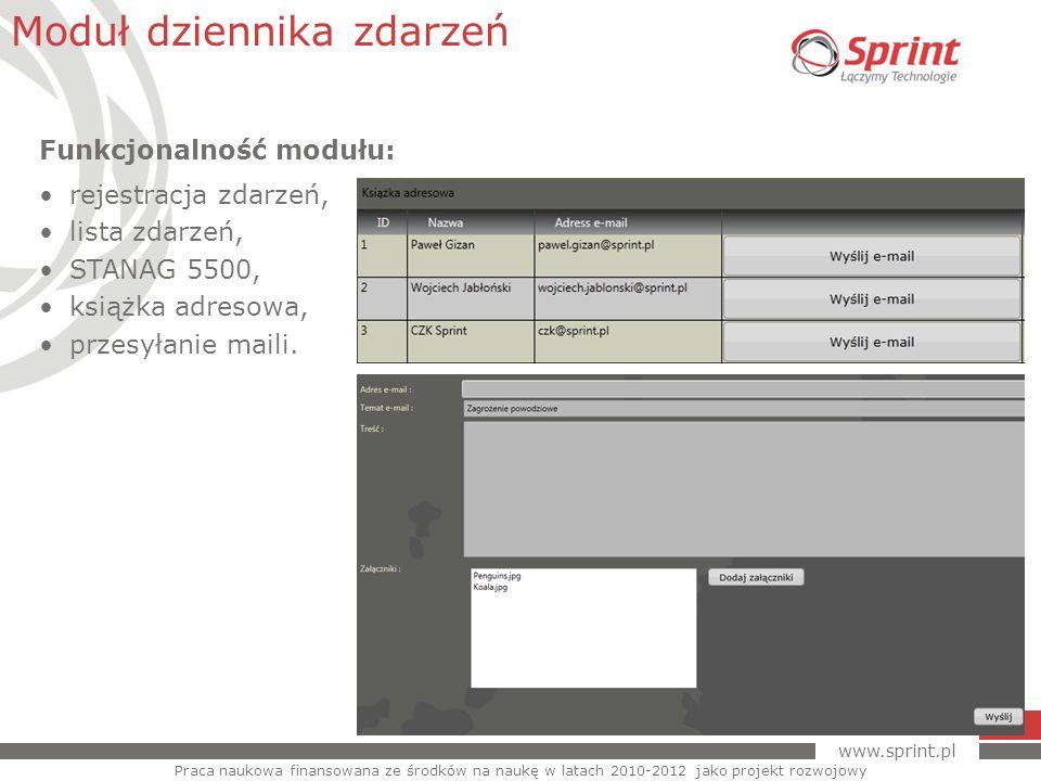 www.sprint.pl 30 Moduł dziennika zdarzeń Praca naukowa finansowana ze środków na naukę w latach 2010-2012 jako projekt rozwojowy Funkcjonalność modułu