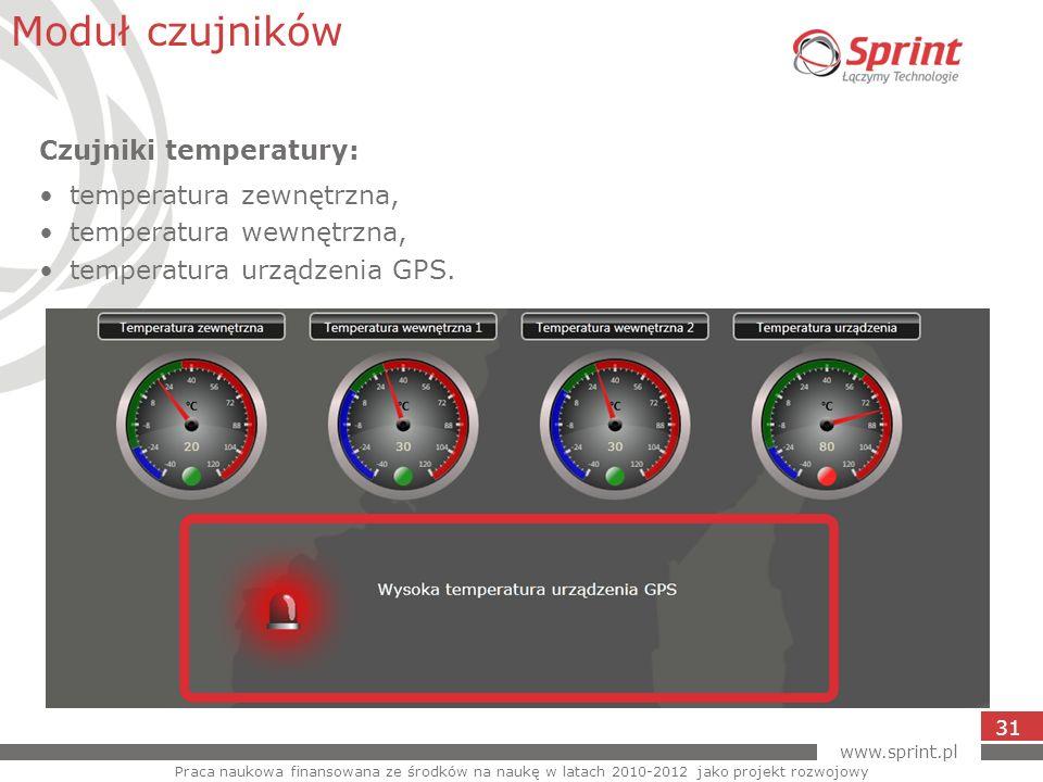 www.sprint.pl 31 Moduł czujników Praca naukowa finansowana ze środków na naukę w latach 2010-2012 jako projekt rozwojowy Czujniki temperatury: tempera