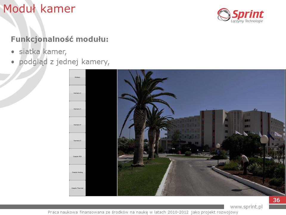www.sprint.pl 36 Moduł kamer Praca naukowa finansowana ze środków na naukę w latach 2010-2012 jako projekt rozwojowy Funkcjonalność modułu: siatka kam