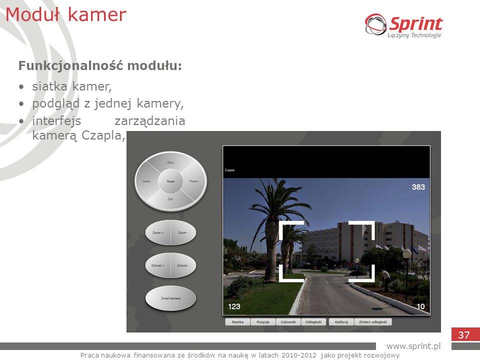 www.sprint.pl 37 Moduł kamer Praca naukowa finansowana ze środków na naukę w latach 2010-2012 jako projekt rozwojowy Funkcjonalność modułu: siatka kam