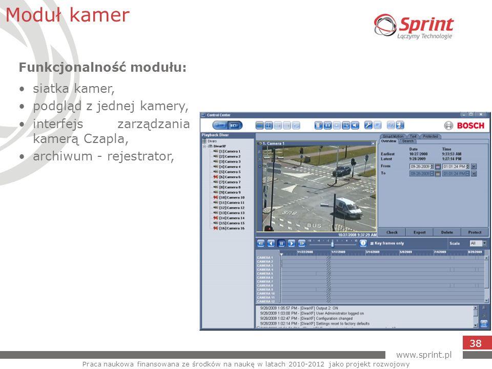 www.sprint.pl 38 Moduł kamer Praca naukowa finansowana ze środków na naukę w latach 2010-2012 jako projekt rozwojowy Funkcjonalność modułu: siatka kam