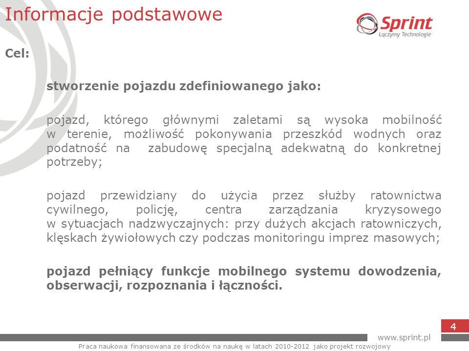 www.sprint.pl 4 stworzenie pojazdu zdefiniowanego jako: pojazd, którego głównymi zaletami są wysoka mobilność w terenie, możliwość pokonywania przeszk