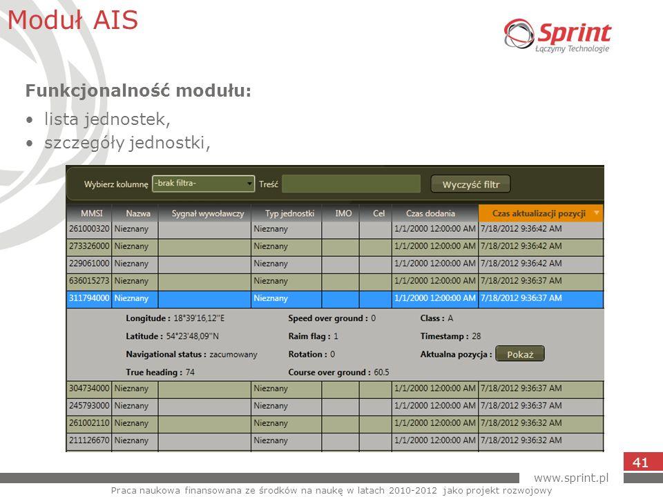 www.sprint.pl 41 Moduł AIS Praca naukowa finansowana ze środków na naukę w latach 2010-2012 jako projekt rozwojowy Funkcjonalność modułu: lista jednos